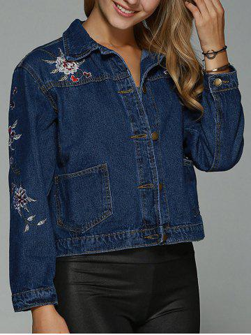 New Double Pockets Floral Embroidery DenimJacket