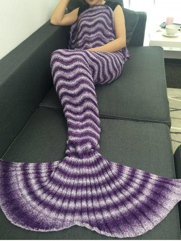 Outfits Super Soft Knitting Wave Stripe Mermaid Tail Style Blanket PURPLE