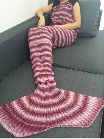 Knitting Vague Stripe Super Soft Mermaid Tail style Blanket Rouge