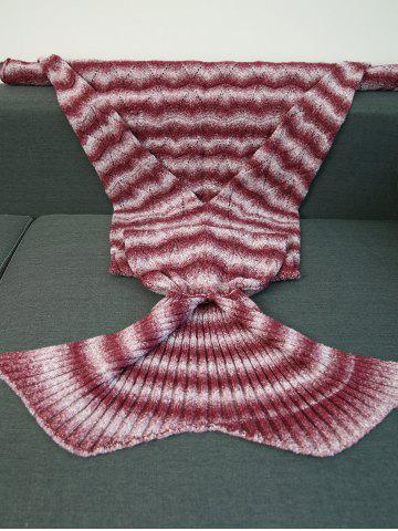 Unique Knitting Wave Stripe Super Soft Mermaid Tail Style Blanket - RED  Mobile