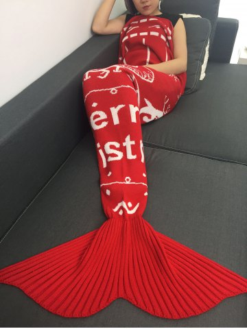 Unique High Quality Christmas Snows Design Knitted Mermaid Tail Blanket - RED  Mobile