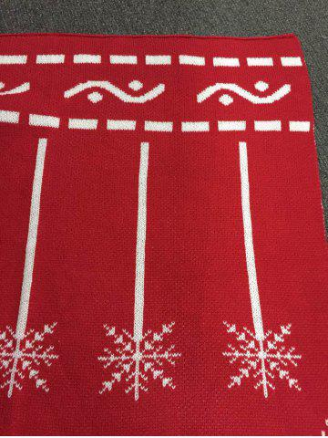 Affordable High Quality Christmas Snows Design Knitted Mermaid Tail Blanket - RED  Mobile