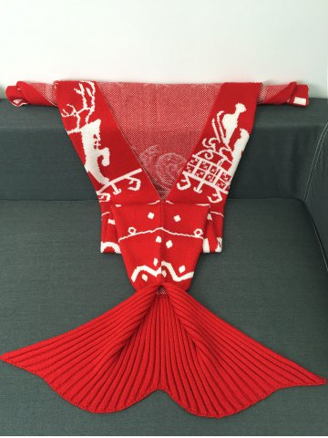Discount High Quality Christmas Snows Design Knitted Mermaid Tail Blanket - RED  Mobile