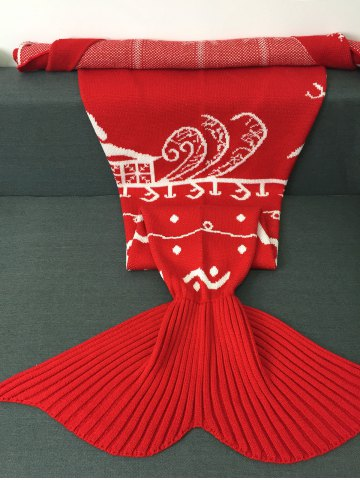 Online High Quality Christmas Snows Design Knitted Mermaid Tail Blanket - RED  Mobile