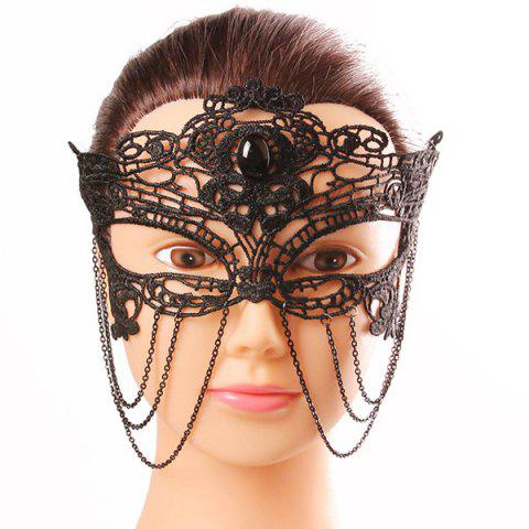 Unique Mystical Upper Half Face Black Lace Hollow Out Chains Masquerade Masks - BLACK  Mobile