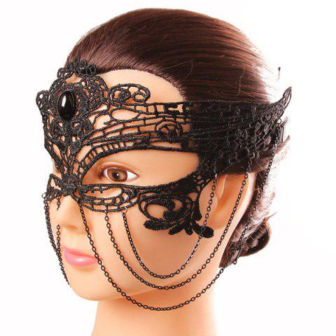 Online Mystical Upper Half Face Black Lace Hollow Out Chains Masquerade Masks - BLACK  Mobile