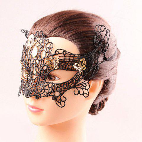 Affordable Half Face Lace Hollow Out Butterfly Rhinestone Masquerade Masks - BLACK  Mobile