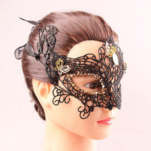 New Half Face Lace Hollow Out Butterfly Rhinestone Masquerade Masks - BLACK  Mobile