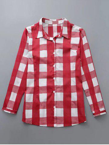 Hot Plus Size Checkered Print Buttoned Shirt RED 4XL