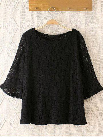 Store Plus Size Laciness Flare Sleeves Blouse BLACK 4XL