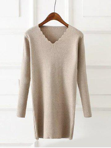 New Plus Size Wavy Cut Ribbed Pullover