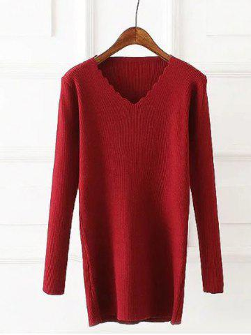 Buy Plus Size Wavy Cut Ribbed Pullover WINE RED ONE SIZE