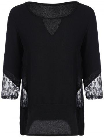 Shops Keyhole Neck Lace Spliced Hollow Out Sleeves T-Shirt