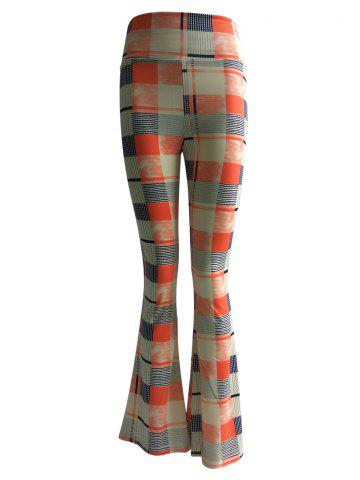 Affordable High Waist Checkered Print Trumpet Pants
