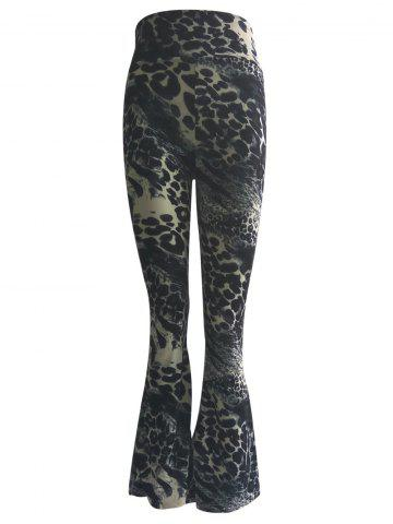 Latest High Waist Leopard Trumpet Pants BLACK 3XL