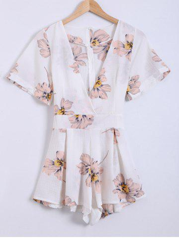 Affordable Plunging Neck Self-Tie Floral Romper