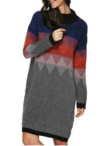 Zigzag Argyle Print Tunic Knitted Jumper Dress - Colormix - One Size(fit Size Xs To M)