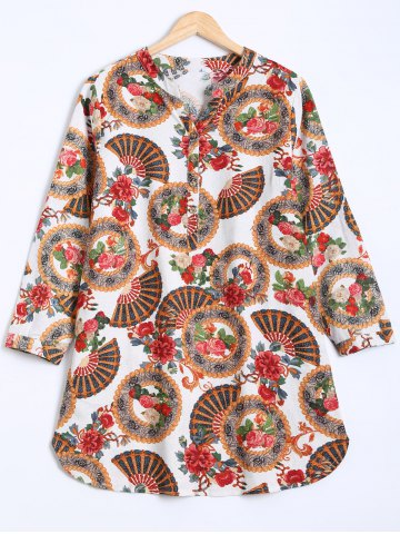 Ethnic Floral Buttoned Dress - WHITE ONE SIZE