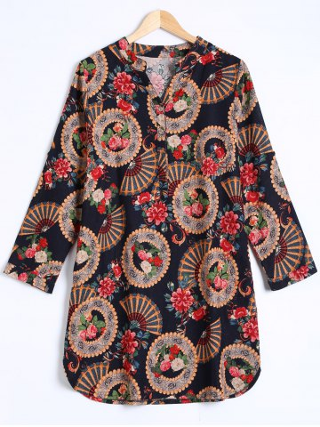 Ethnic Floral Print Buttoned Dress - Black - One Size