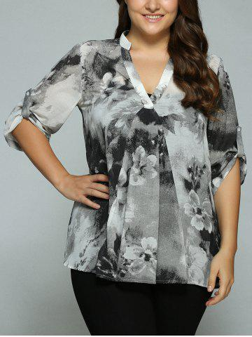 Affordable Plus Size Adjustable Sleeve Ink Painting Blouse