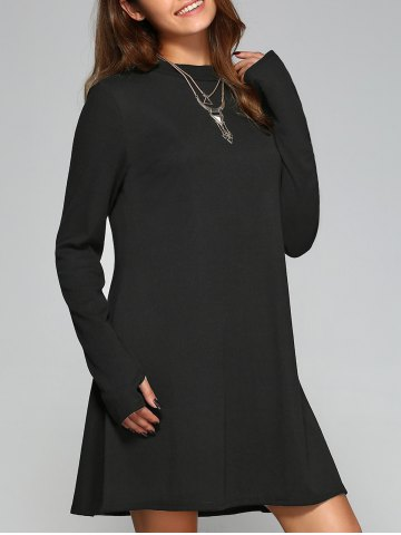 Unique Long Sleeve Mittened A-Line Dress