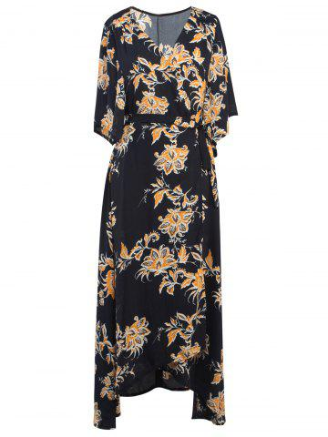 New Floral Printed Tied Wrap Maxi Dress BLACK XL