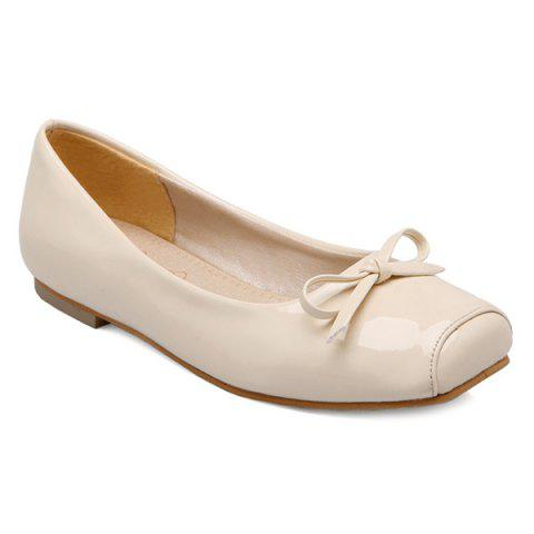 Hot Patent Leather Square Toe Bowknot Flat Shoes OFF WHITE 43
