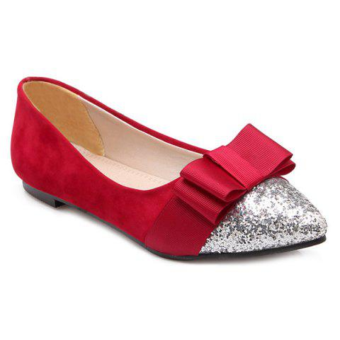 Glitter Color Block Bow Flat Shoes - Red - 40