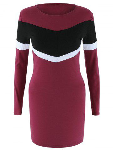 Cheap Long Sleeve Color Block Bodycon Dress WINE RED XL