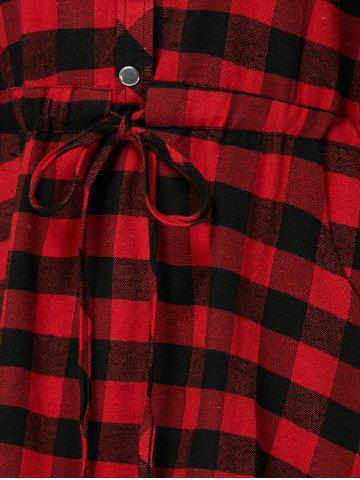Online Long Sleeve Drawstring Plaid Shirt Dress - S RED Mobile