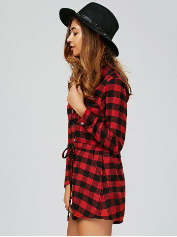 Store Long Sleeve Drawstring Plaid Shirt Dress - S RED Mobile