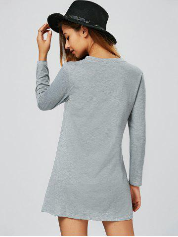 Outfits Long Sleeve Shift T Shirt Tunic Dress - L GRAY Mobile