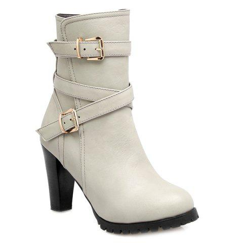 Cheap Chunky Heel Double Buckle Cross Straps Boots