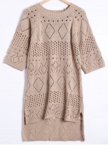 New High Low Hollow Out Sweater Dress