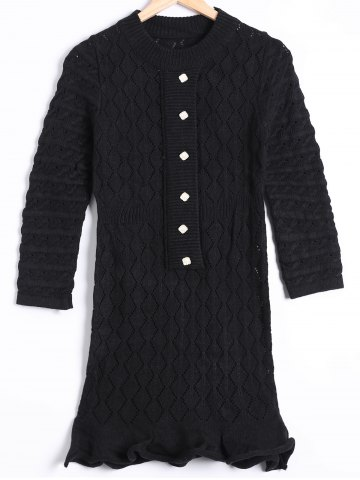 Buy Hollow Out Mini Long Sleeve Sweater Dress
