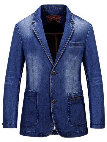 Lapel Single-Breasted Bleach Wash Vintage Denim Coat - Light Blue - Xl
