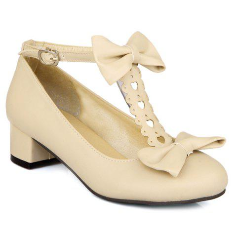 Outfit Hollow Out Double Bow T-Strap Pumps