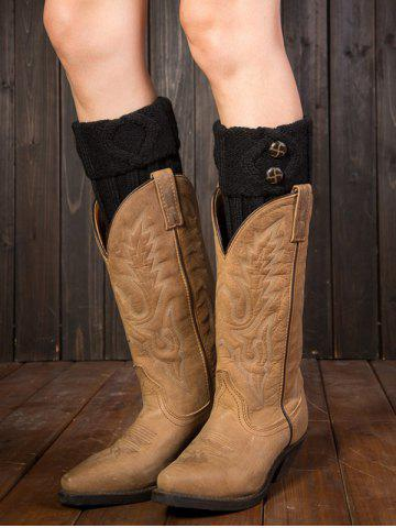 Store Warm Buttons Rhombus Flanging Boot Cuffs BLACK