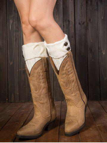 Buy Warm Buttons Rhombus Flanging Boot Cuffs WHITE