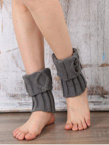 Outfit Warm Buttons Rhombus Flanging Boot Cuffs LIGHT GRAY