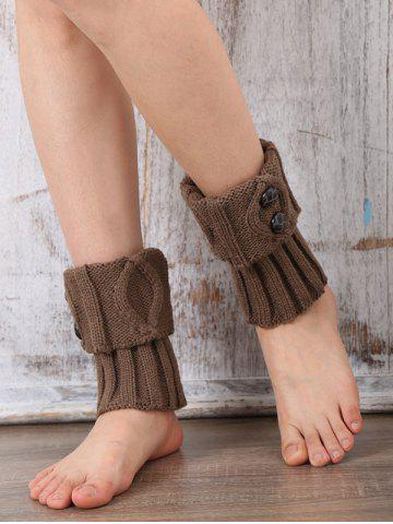 Chic Warm Buttons Rhombus Flanging Boot Cuffs LIGHT COFFEE