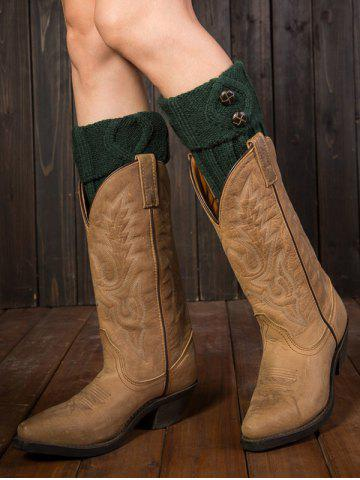 Latest Warm Buttons Rhombus Flanging Boot Cuffs BLACKISH GREEN