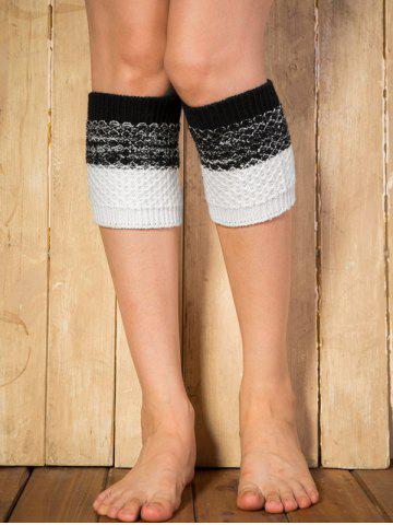 Discount Warm Color Block Yoga Crochet Knit Boot Cuffs BLACK