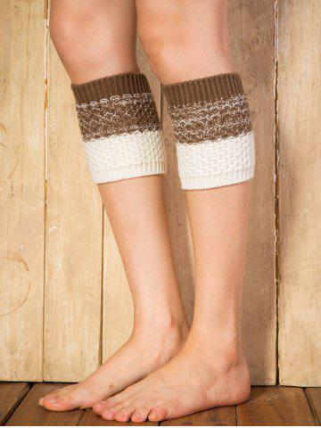 Warm Color Block Yoga Crochet Knit Boot Cuffs - Coffee