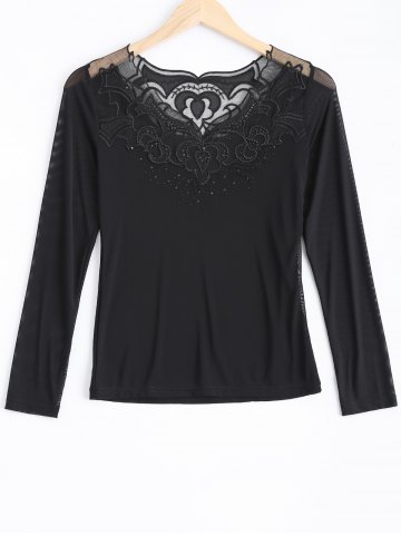 Latest Lace Spliced Beading T-Shirt