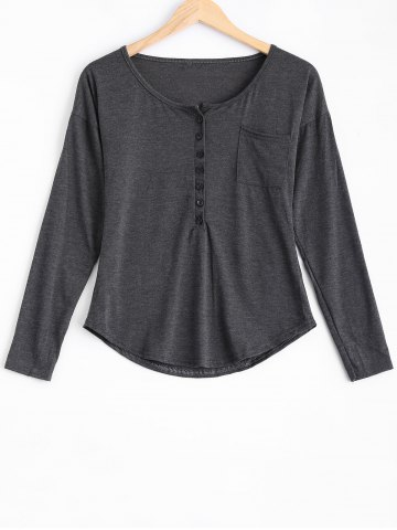 Cheap Buttoned Loose Casual T-Shirt