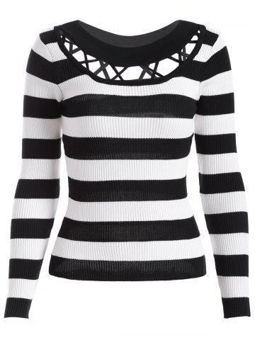 Latest Hollow Out Striped Knitwear