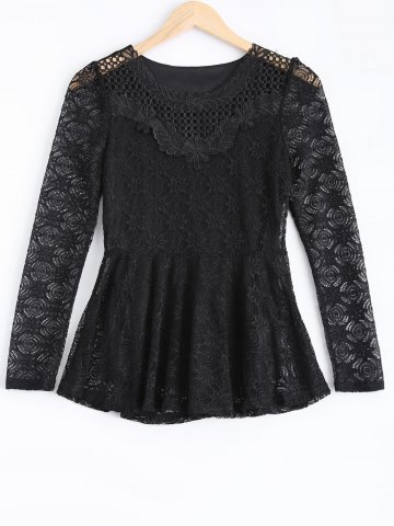Sale Cut Out Flounce Ruffles Lace Blouse