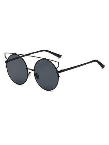 Hot Modern Crossbar Round Sunglasses BLACK