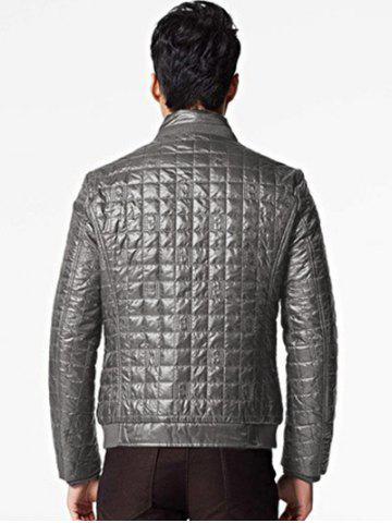Outfits Geometric Zip Up Padded Jacket ODM Designer - 3XL BROWN GREY Mobile